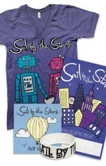 "Robot Love V-Neck, Away We Go CD, Signed Poster, Wristband + Instant Download of ""Cross My Heart"""