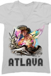 Atlava Pirate girl (V neck)- Black text