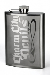 Etched CCD Whiskey Flask
