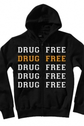 Drug Free Zip-up Hoodie (Black)