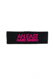 Headband w/ Pink Embroidery (Black)