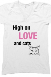 High On Love & Cats V-neck