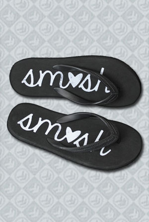 Black Flip Flops - Heart SMOSH