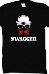 swagger and red bow-tie black crew neck