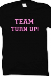Pink team turn up shirt crew neck