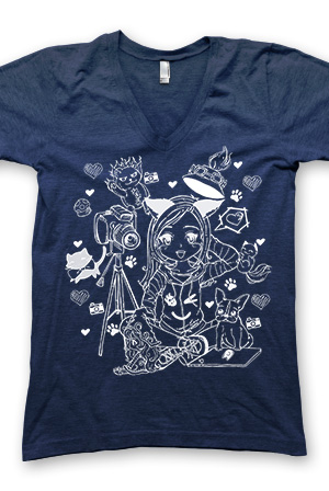 Catrific Cartoon - Navy V-Neck