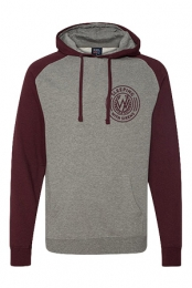 Colorblock Collegiate Hoodie (Gunmetal Heather and Burgundy)