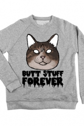 Butt Stuff Forever Cat Crewneck (Heather Grey)