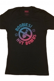 Boobies! Not Bombs Girls Tee - Black