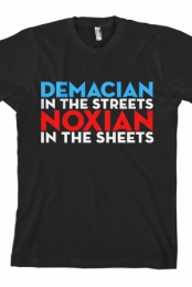 Demacian In The Streets Noxian In The Sheets Unisex Tee (Black)