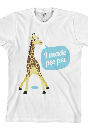 Giraffe Made Pee Pee Tee (White)