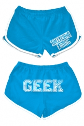 Geek Booty Shorts (Aqua / White Trim)