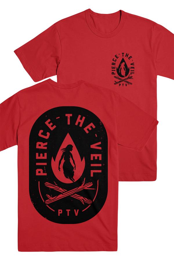 Pierce The Veil | Merch Store - Fire Badge Tee (Red)