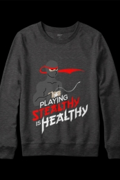 Stealthy is Healthy Crewneck (Heather Charcoal)