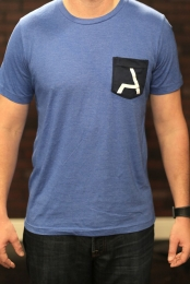 Ambitious Heather Light Blue Black Pocket Tee